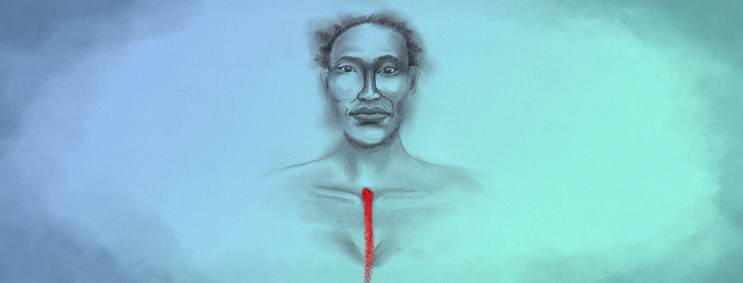 soft pencil drawing portrait of a woman with bright red oil pastel swash on her chest representing a scar