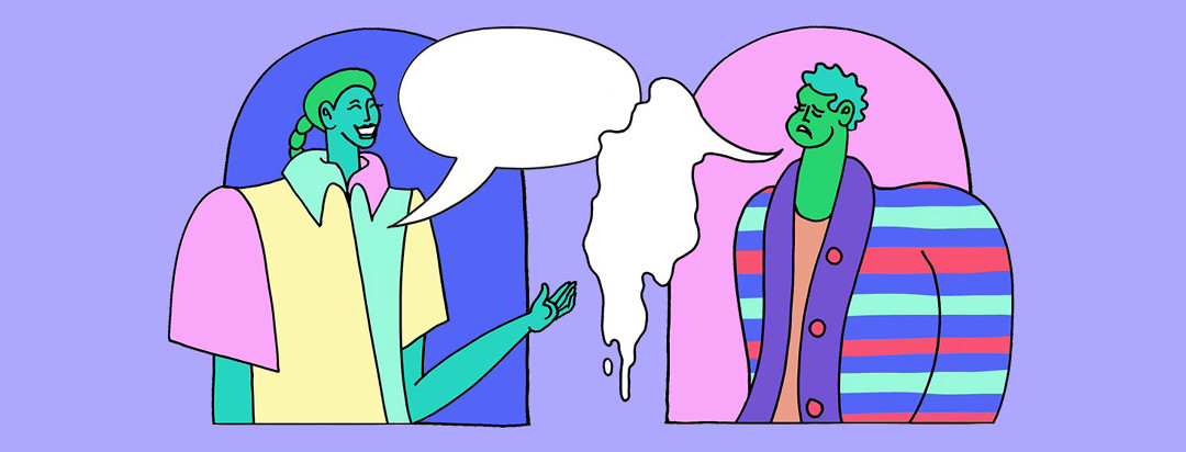 two people engage in conversation word bubbles, but one has a speech problem, and their world bubble is melting