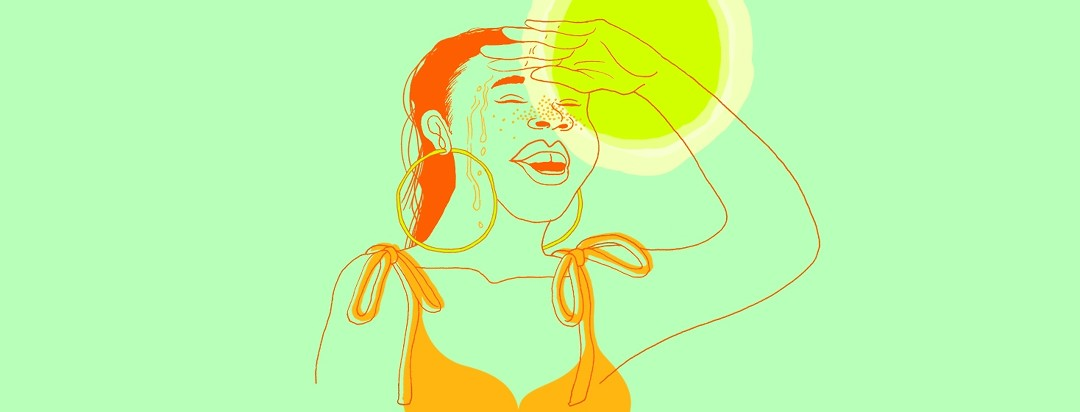 a woman is sweating, shielding her eyes from the blazing sun's heat