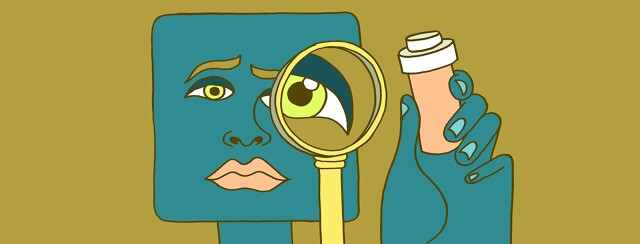 a woman with myasthenia gravis holds up a magnifying glass to examine a bottle of mestinon