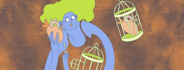 a woman unlocks a cage, holding her heart, and holds the heart up to her ear to listen to it