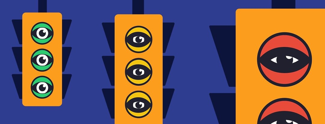 Traffic lights with eyes.