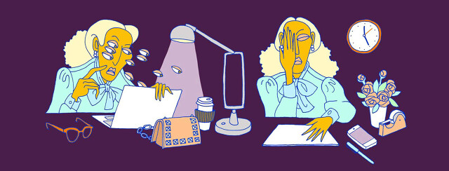 a woman at her desk is struggling with double vision affecting her work