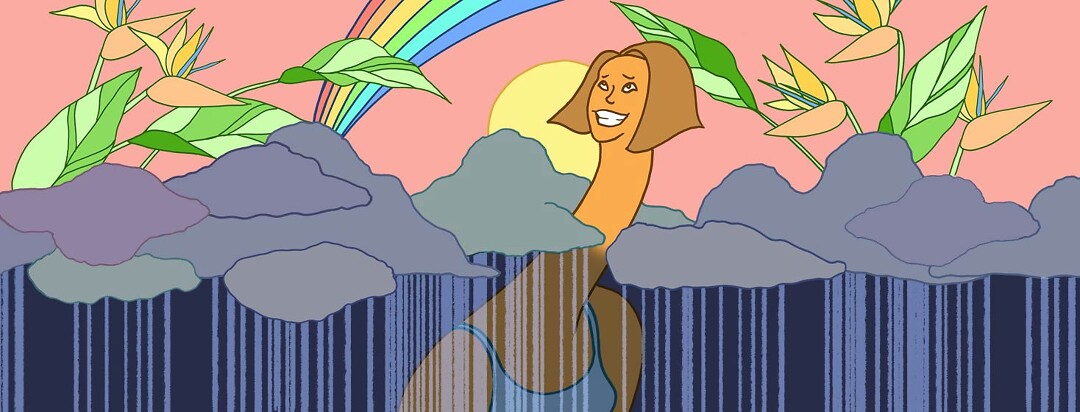 a woman pokes her long neck through the gloomy rainy clouds and she peeks above into the bright sunshine and rainbow with flowers