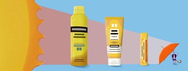 a row of sunscreen bottles creates a shield against the sun's rays against a small person behind them