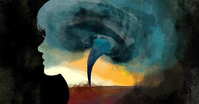 inside the silhouette of a woman's profile is a swirling tornado