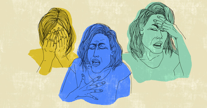 a woman has anxiety gasping for breath as she struggles with myasthenia gravis breathing problems