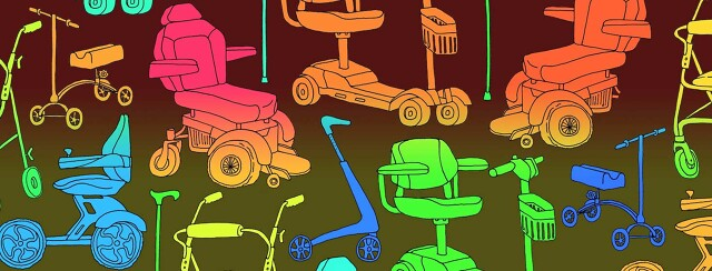 a wall-paper-style print of several mobility device illustrations