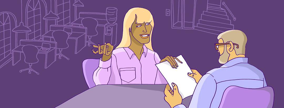a woman is job hunting with myasthenia gravis