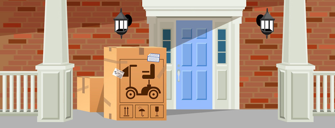 a front porch with a giant cardboard box delivery package that has a mobility device illustration on the box