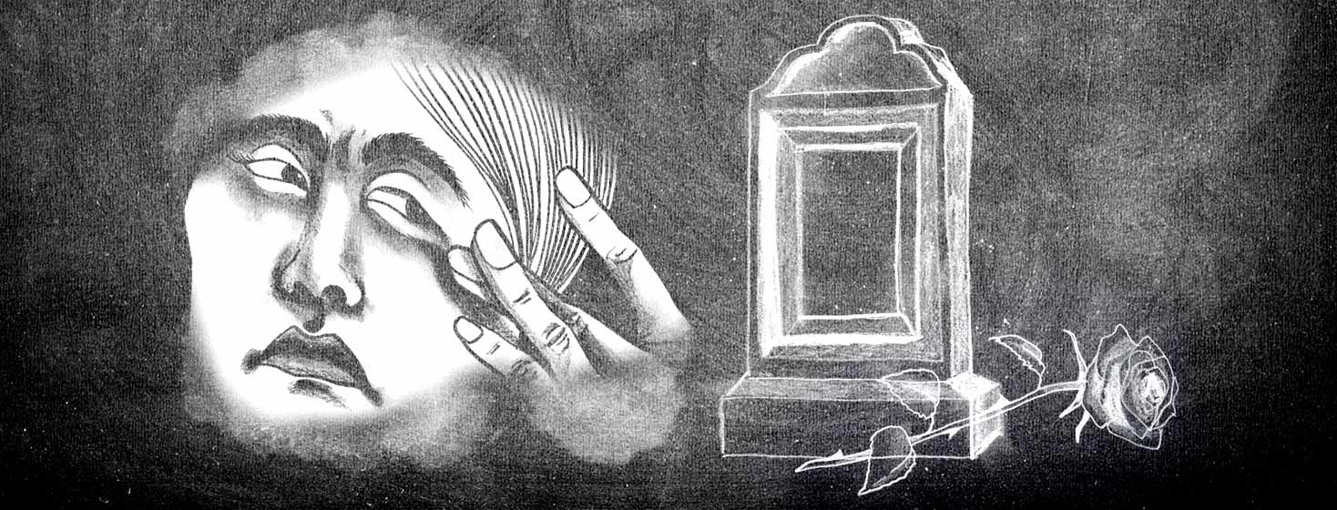 chalk board illustration of a tombstone with a single rose