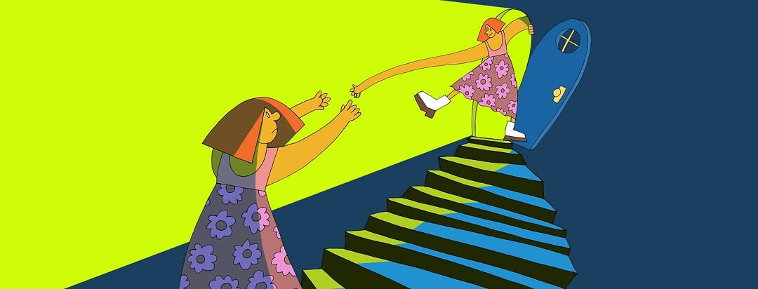 a woman looks up a long flight of stairs and sees herself at the top with an outstretched hand to help