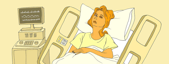 a woman lies in a hospital bed with one of her eyes shut