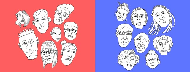 two groupings of different faces, one representing Myasthenia Gravis and the other Bell's Palsy