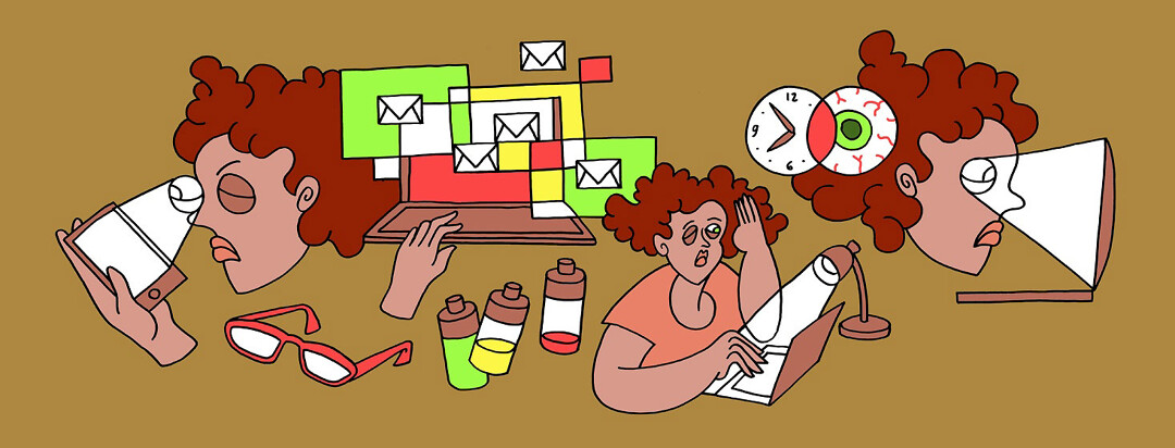 a woman struggling with her vision working at home