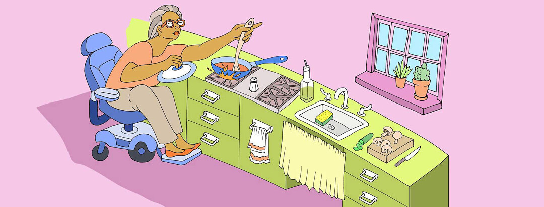 a woman in a power chair is cooking in the kitchen